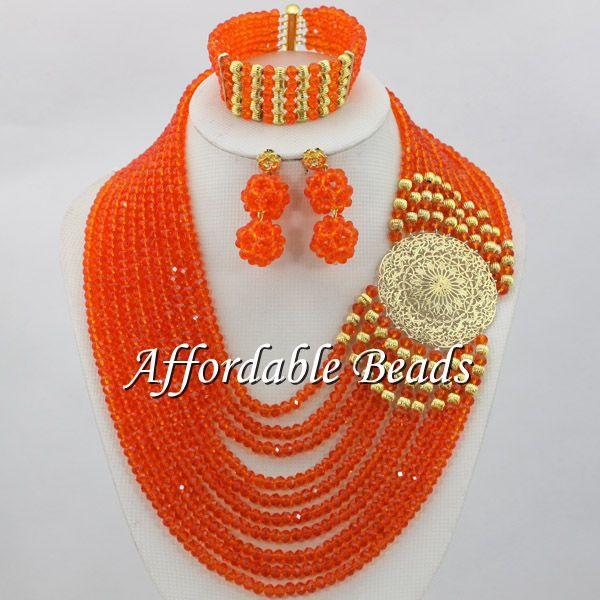 Orange Dubai Gold Jewelry Sets Hot Sale Nigerian Beads Jewelry Set Handmade Design Free Shipping ABE098Orange Dubai Gold Jewelry Sets Hot Sale Nigerian Beads Jewelry Set Handmade Design Free Shipping ABE098