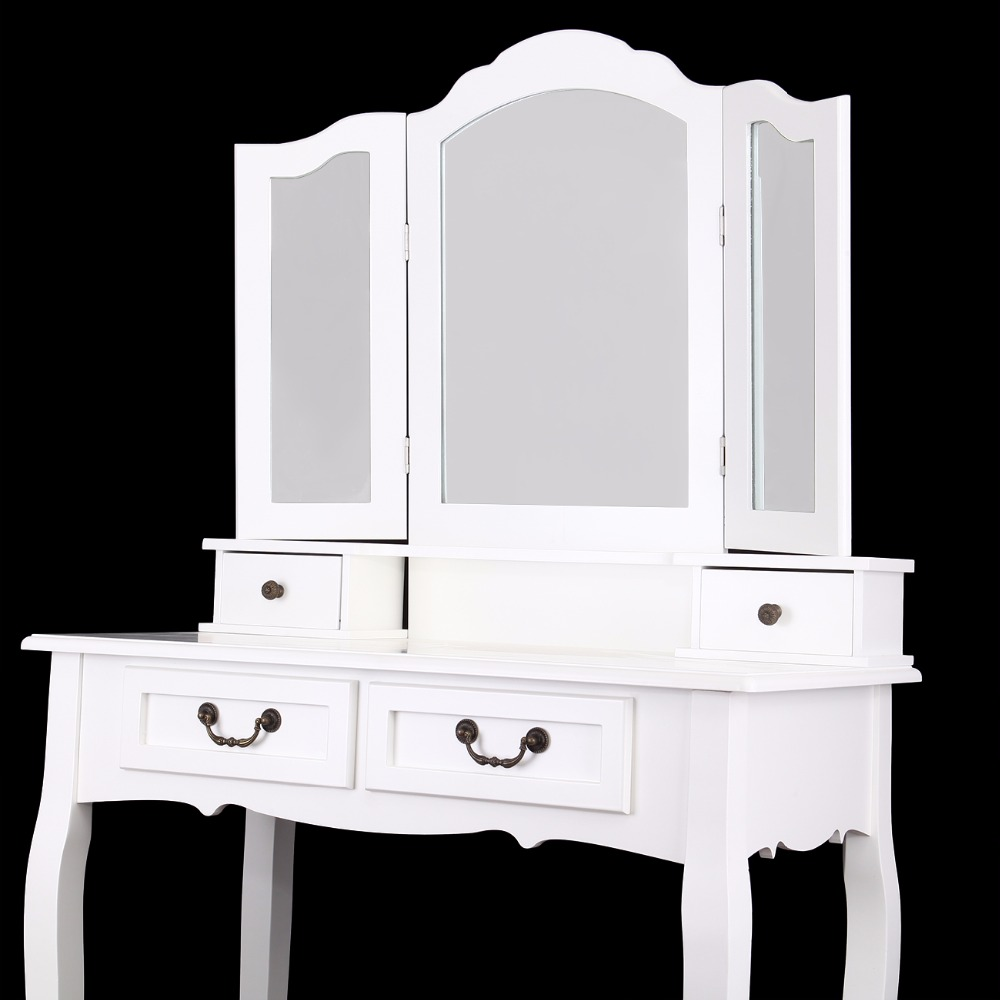 Ship From Germany Wooden Dressing Table 4 Drawer With Stool 3 Mirror Bedroom Furniture Makeup Desk In Dressers On Aliexpress Alibaba