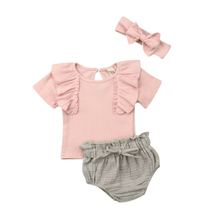 Summer Newborn Baby Girl Clothes Set Ruffle Top T-Shirt Shorts Briefs 3PCS Outfit Newborn Girl Clothes Infant Clothing Girls Set