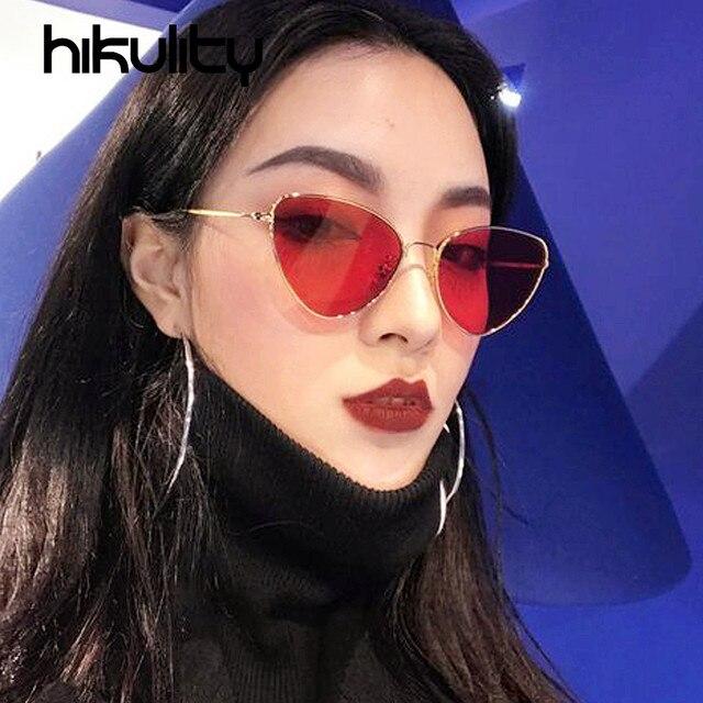 c3edb90a09020 Óculos de Sol Olho De Gato vermelho Oceano Lens Liga Sexy Pequenos Óculos  de Sol Das