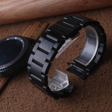 Нержавеющая сталь ремешок для часов изогнутыми концами черного цвета для samsung Galaxy Watch 46mm SM-R800 Шестерни S3 сменный ремешок Ремешок на руку
