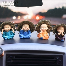 hot deal buy 1set figurines miniatures small straw hat four non-monk cartoon car accessories diy car decorations resin doll handicraft decora