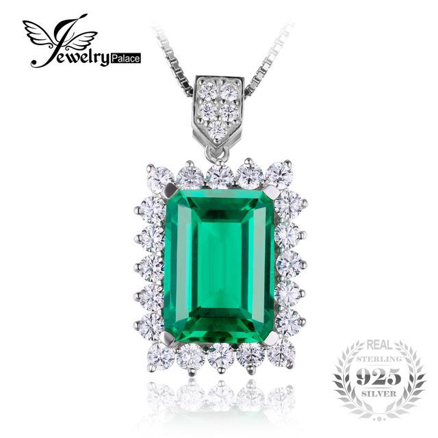 Jewelrypalace 6.5ct luxo criado nano rússia emerald sólido 925 sterling silver pendant 2016 brand new jóias estilo nenhuma cadeia