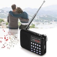 Portable Mini Stereo LCD Digital FM Radio USB TF Card Mp3 Music Player Rechargeable Battery Digital Audio FM Radio LED Light(China)