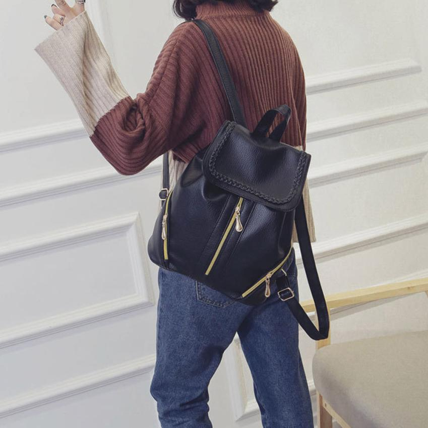 maison Backpacks new high quality Leather fashion School Student Backpack Zipper Ladies Package backpack women 2018MA7