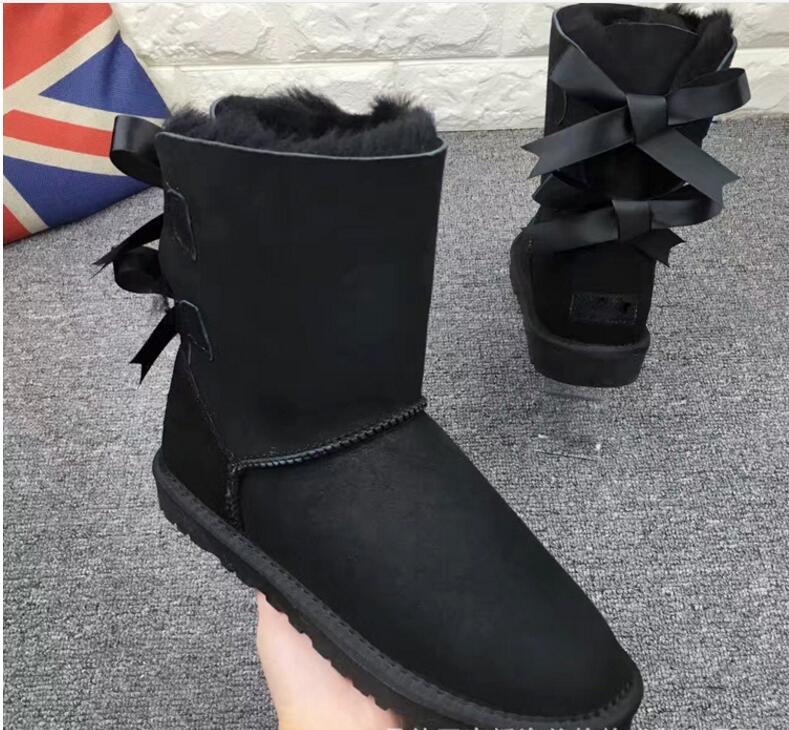 2018 black women fur boots australia winter shoes woman sheep leather snow boots women shoes australia ankle warm shoes australia new sheep fur one snow boots female calf height winter warm button pendant water proof boots free shipping