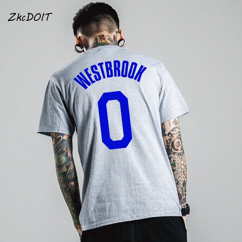 official photos 8d69a 6fc92 US $7.5  Summer t shirt men 2018 new style Russell Westbrook jersey why not  tee shirt homme short sleeve crew neck male top,tx2442-in T-Shirts from ...
