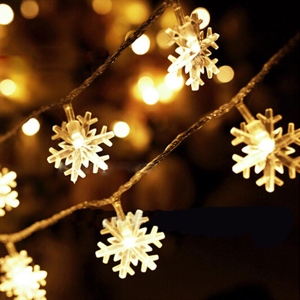 25m 20 led fairy lights battery powered warm white christmas lights outdoor indoor snowflake string tree home decoration in led string from lights