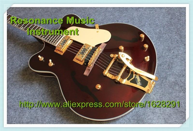 где купить Custom Shop Gret G6122-1962 Chet Atkins Country Gentleman Electric Guitar Brown Color Guitar China Factory по лучшей цене