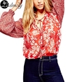Women's Chiffon Shirts Spring 2017 Long Sleeve Fashion Print Flower V-Neck Sexy Blouse Contrast Color Camisas Femme YC13055