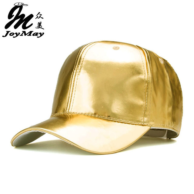 So Cool !!!! Mens Hip Hop Baseball Caps PU Leather Casual Unisex Outdoor Hats Gold/Silver Snapback B362