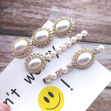 Imitation Pearl Hairpin Hair Clips for Women Fashion Wind Water Drill Duck Mouth Side Metal Gold Color Barrettes