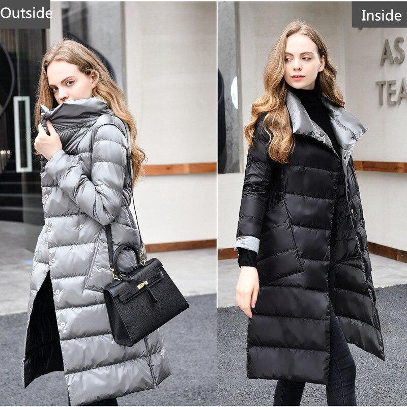 2018 Winter New Design Duck   Down   Jacket For Women Double Wearings Long   Coat   Parkas High Quality Women   Down     Coat   two Sides Parkas