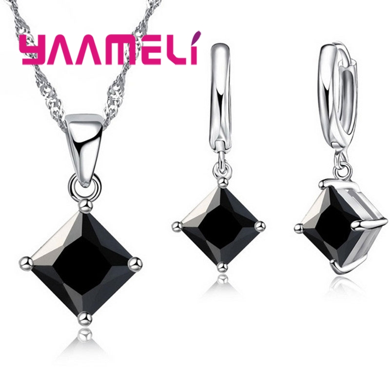 New Arrival 925 Sterling Silver Women Accessories Earrings Jewelry Set With Shiny Square Shinny CZ Necklace Earrings 2