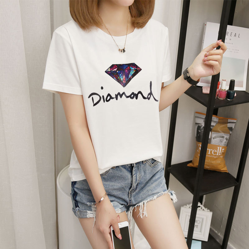 Women t shirt Casual tshirt Polyester summer 2019 camiseta mujer Solid color Oneck Printed vogue loose shirt New arrive fashion in T Shirts from Women 39 s Clothing