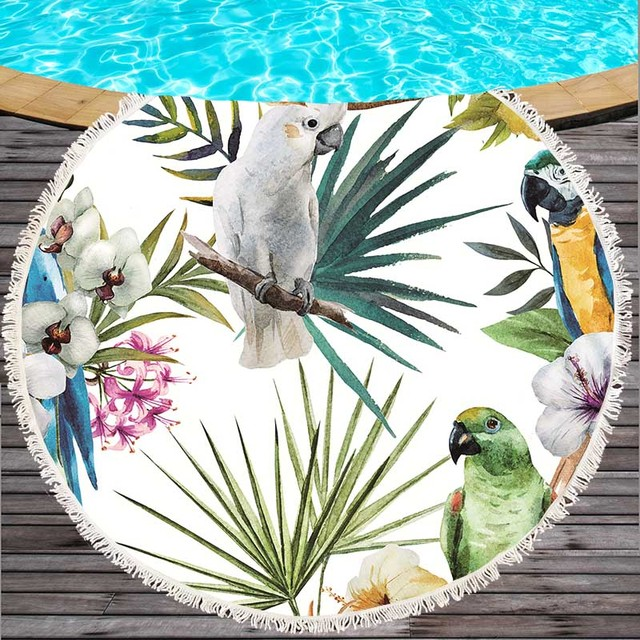 Adults Beach Towels Tassel Yoga Blanket Flower Bird Print 150cm Round Microfiber Cover Up Bath Swim Shawl Thick Camping Mattress
