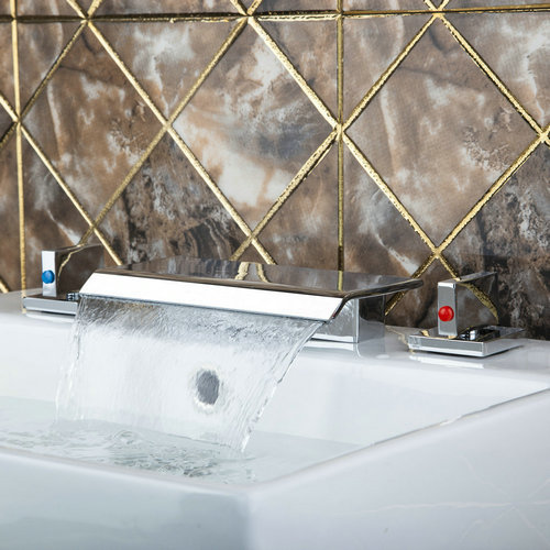 64A Wash Basin Sink Vessel Chrome 3 Pieces Waterfall Spout+Two Hot/Cold Handle+Hose Deck Mount Bathtub Torneira Tap Mixer Faucet стоимость