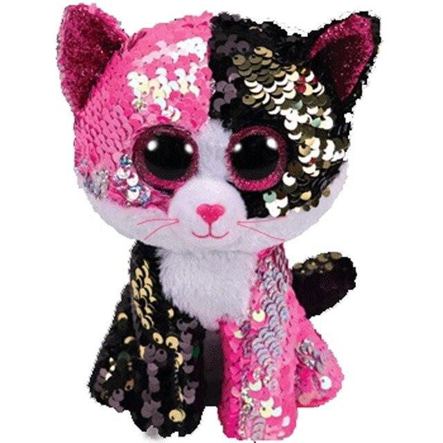 Ty Beanie Sequin Animal Plush Toys Doll Cat Fox Owl Unicorn Dog Sheep Gift for Girl 15cm