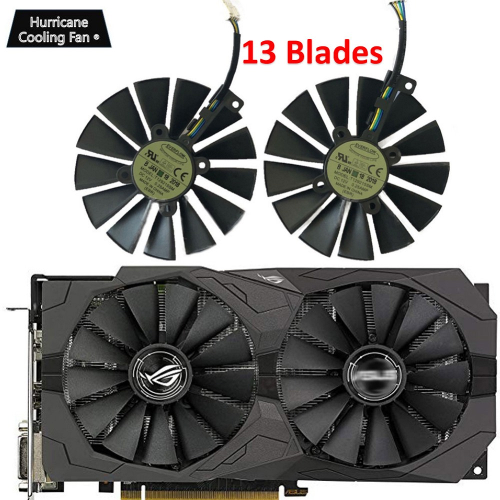 95MM T129215SM 4Pin 12V Graphics Card Fan for ASUS STRIX GTX 1050 1050Ti 1070Ti 1080Ti RX 470 570 580 RX470 RX570 RX580 Cooler-in Fans & Cooling from Computer & Office