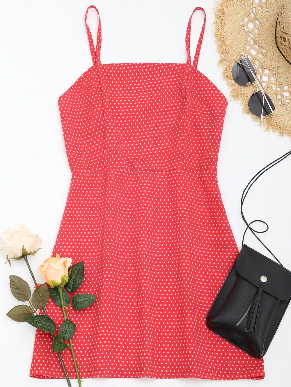 AZULINA Polka Dot Spaghetti Strap Summer Cami Dress Women Casual Brief A Line Red Mini Dress Vestidos De Festa Ladies Sundress 7