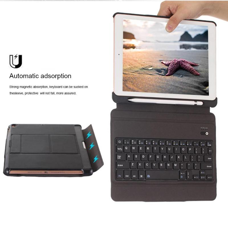 VODOOL Bluetooth Keyboard with Leather Case Cover for iPad Air1 2 iPad Pro 9 7 Rechargeable