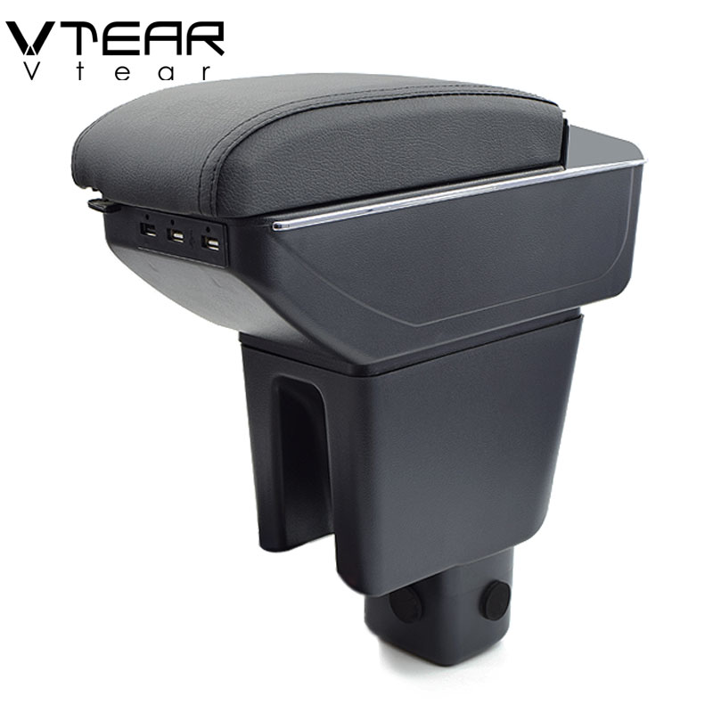 Vtear For Honda BRV armrest box USB Charging heighten Double layer central Store content cup holder