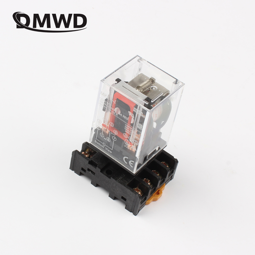 DMWD MK2P MK-2P ONE NEW PLUG IN RELAY 8PIN 2P FITS 220V AC COIL with socket base 125a 220v 2p e industrial male plug 3pins with ce rohs 1 year warranty
