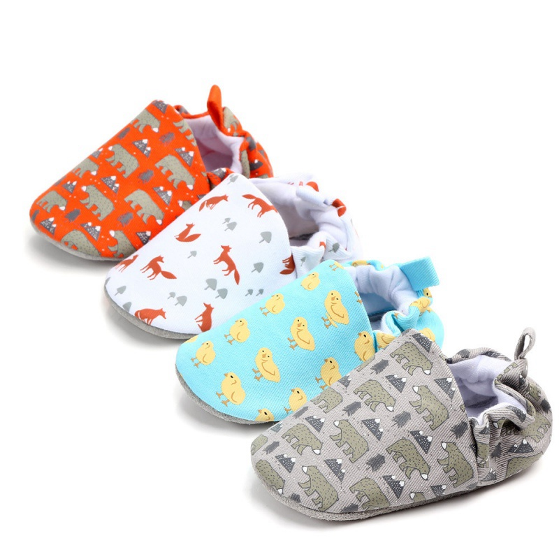 Spring Autumn Cotton Cloth Baby Shoes Boys Girls Cartoon Printed Soft Sole First Walkers Y13