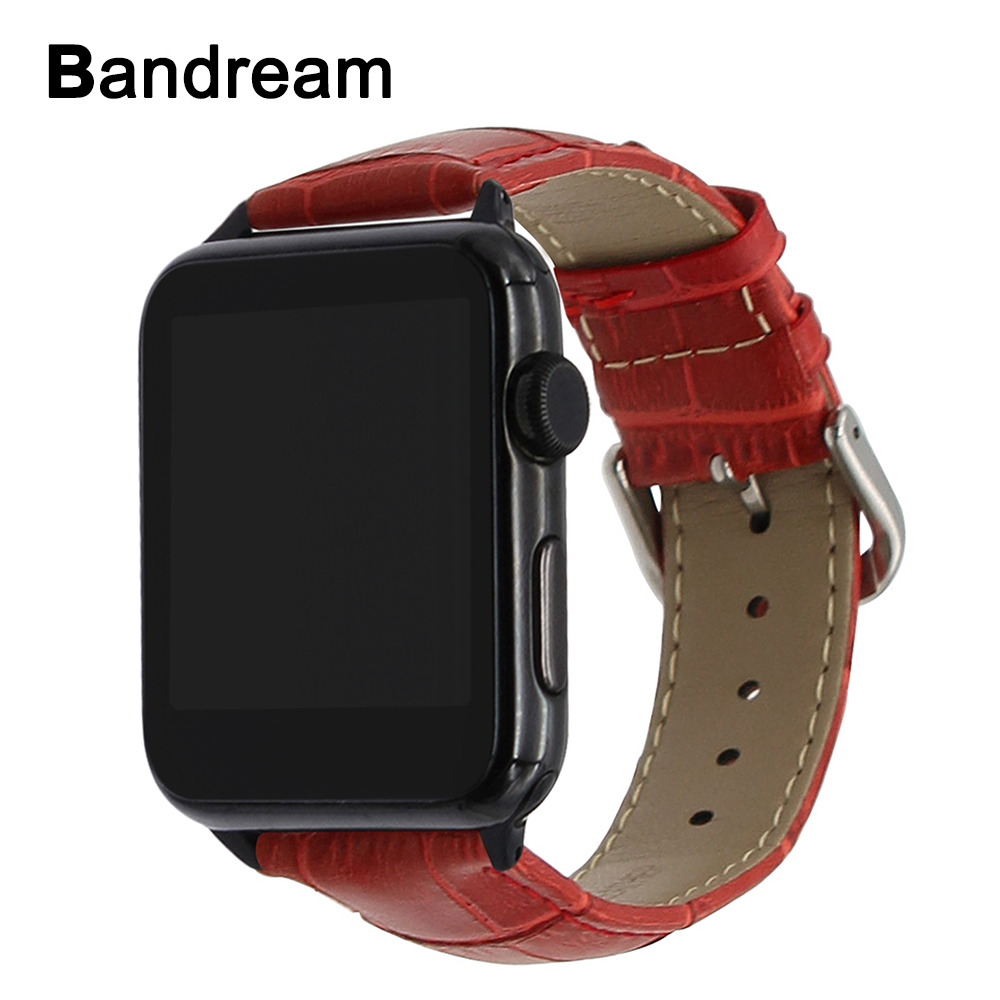Genuine Calf Leather Watchband + Black Silver Adapter for iWatch Apple Watch 38mm 42mm Series 1 2 3 Steel Clasp Band Wrist Strap italian genuine calf leather watchband for iwatch apple watch 38mm 42mm series 1 2 3 band alligator grain strap wrist bracelet