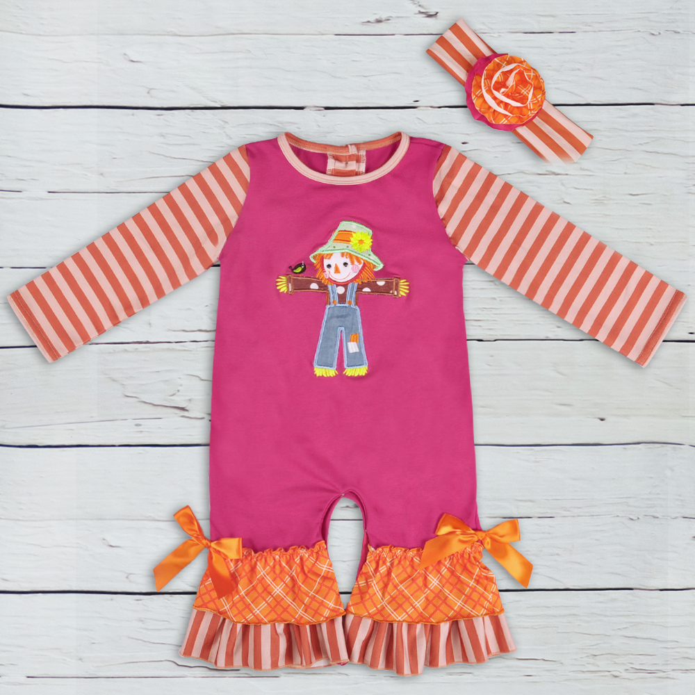 Harvest Season New Design   Romper   Girls Boutique Clothes Newborn Scarecrow Embroidery Stripped Boy   Rompers   Spring Clothes