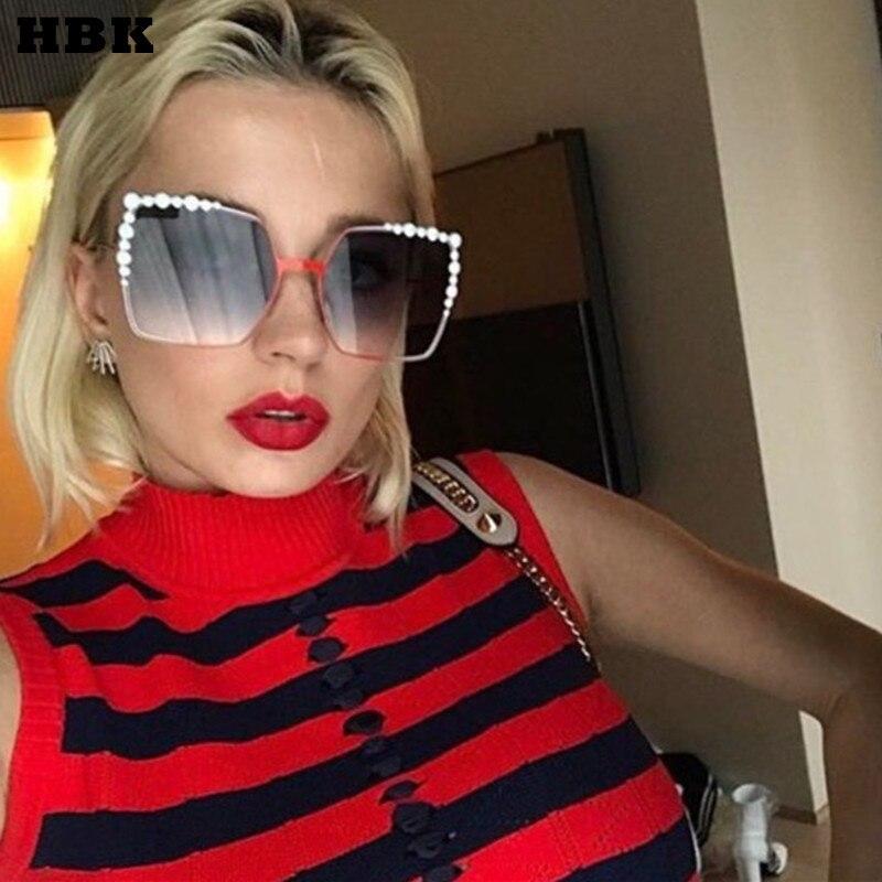 HBK 2017 Women Oversized Aviation Square Sunglasses Women Diamond New Fashion Brand Designer Black Red Female Sun Glasses