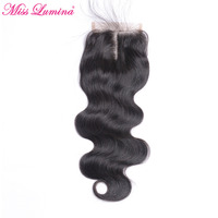Miss Lumina Brazilian Body Wave Closure Natural Black Non Remy Hair Middle Part 4x4 Lace Closure