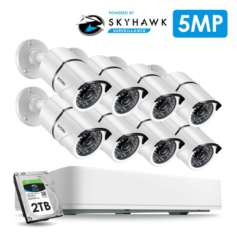 ZOSI 8CH HD 5.0MP système de caméra de sécurité extérieure/intérieure avec 8x5 MP 2560*1920 HD caméra de vidéosurveillance pré-installé disque dur de 2 to