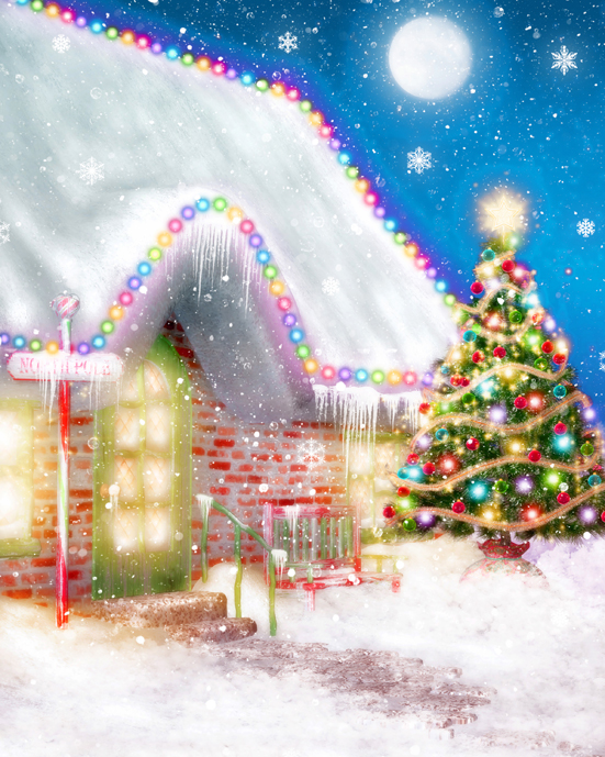 Customize Santa Claus's House photo studio background snow christmas photography backdrops vinyl digital cloth L-897