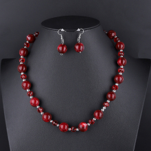 Fashion Geometric Pendants Indian Necklace Earrings Set Women Statement African Beads Crystal Jewelry Wedding