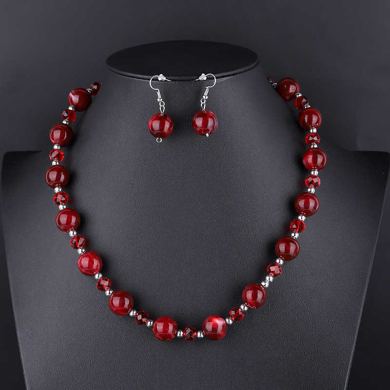 Fashion Geometric Pendants Indian Necklace Earrings Set Women Statement African Beads Crystal Jewelry Set Wedding