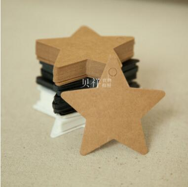 100 pcs stock star shape Kraft Paper Gift Hang Tags Bookmark Wedding Christmas Scallop Label Blank Luggage Event