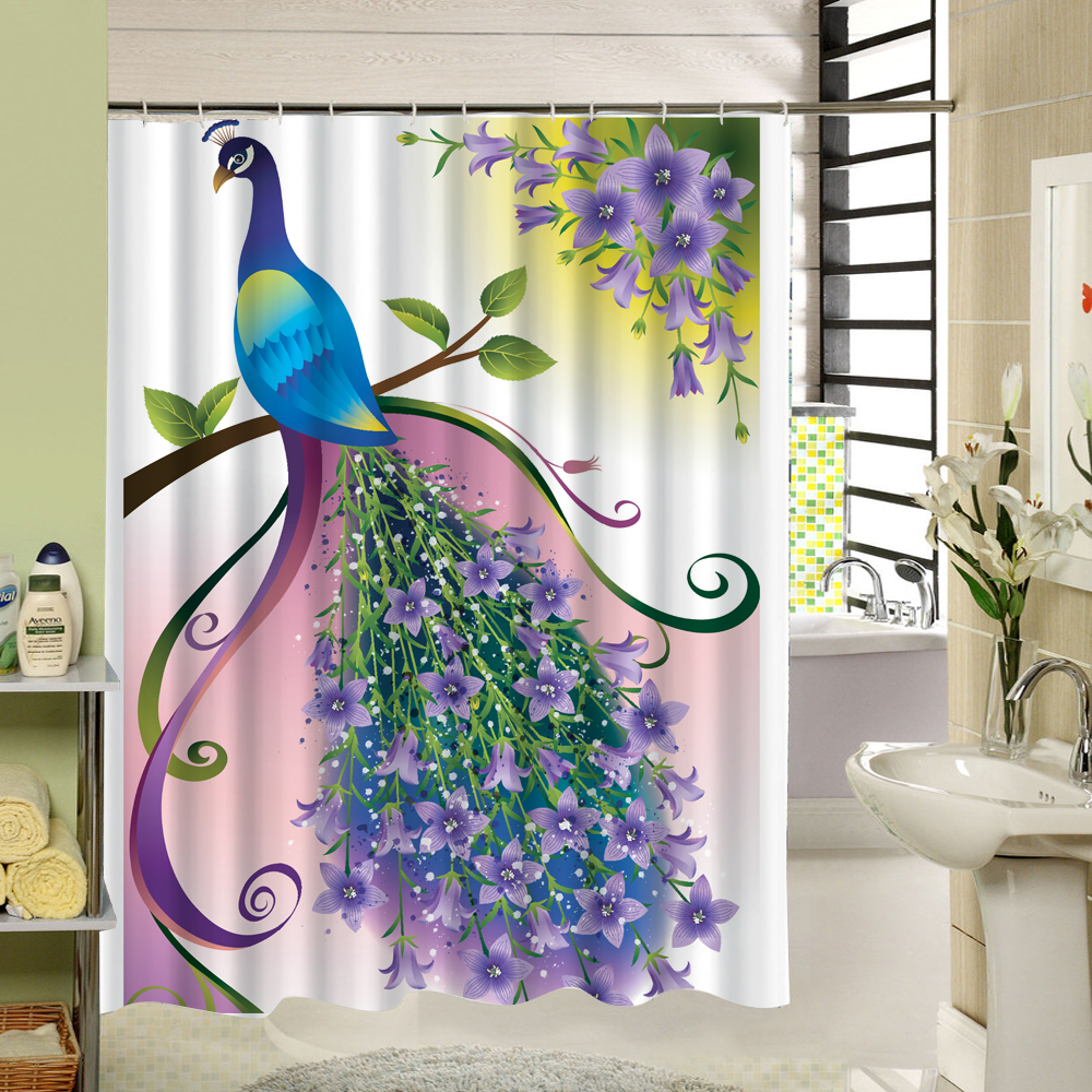 Peacock feather fabric shower curtain quot teal peacock feather quot green - Peacock With Feathers Shower Curtains Decorative Bath Curtains Waterproof Mildew Proof With 12 Rings China