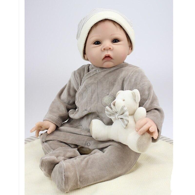 1bf7f76745705 20 Pouce Nouveau-Né Poupée Silicone Reborn Poupées avec des Vêtements