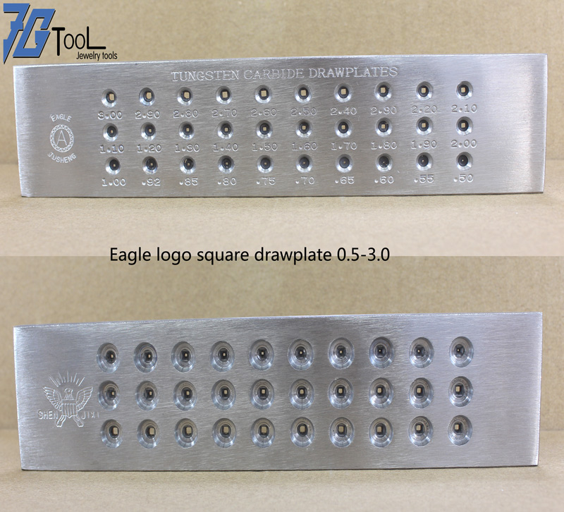 Square/Half Round Shape 20/30 Holes 0.55-3.00mm, Round Shape 0.26-4.10mm Tungsten Carbide Wire Drawplate, Jewelry Making Tool