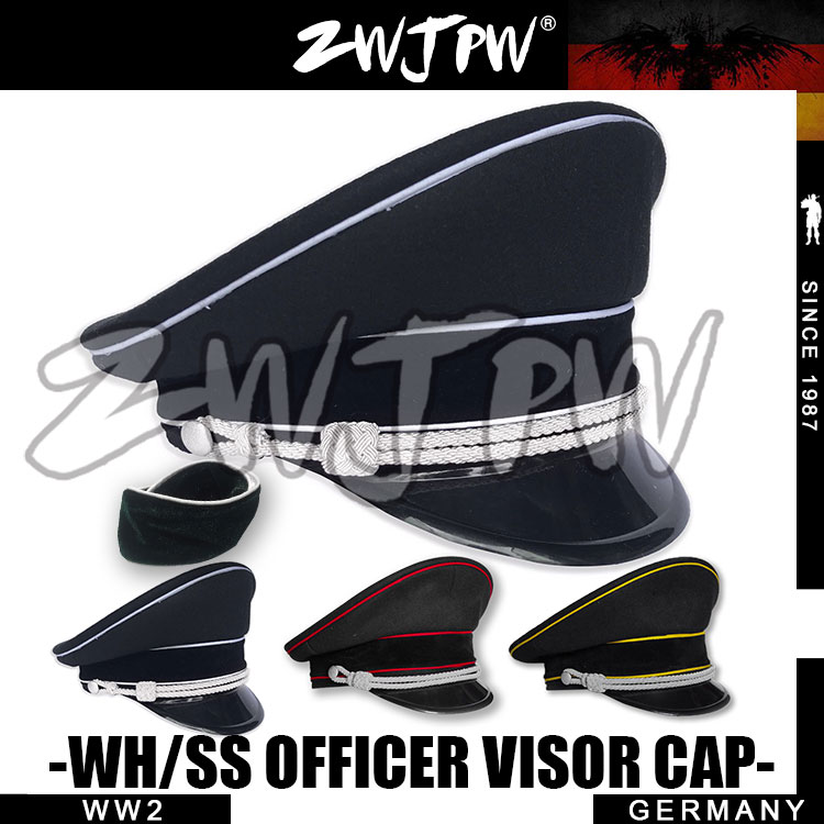 WW2 Army Cap Collectibles Black Officer Large Brimmed Hats Woolen Two Cap badge insignia DE 401134