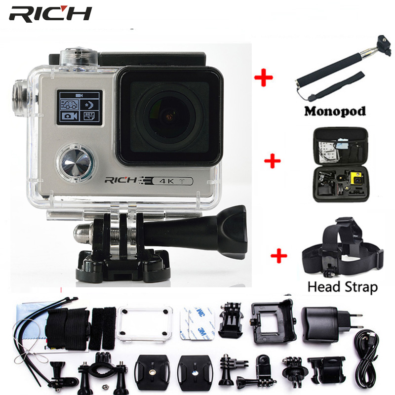 RICH Action camera F88 Ultra HD 4K 24FPS WiFi 1080P/60fps IMX078 170D lens Helmet Driving Cam go waterproof pro camera action camera h3r h3 ultra hd 4k 170d lens go dual screen camera pro waterproof 30m remote control sport camera