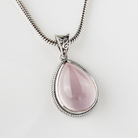 925 sterling silver jewelry Retro Bohemia cute drop Semi precious stones pendant Hibiscus retro girlfriend gift