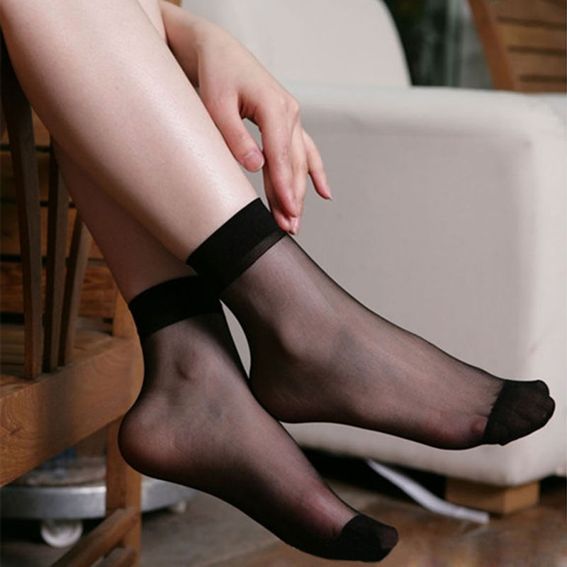 15fd112af05 5 Pairs Summer bamboo female Short Socks Women  s Ultra-thin Fiber Sheer  Crystal Silk Socks Transparent Ankle Hig Socks