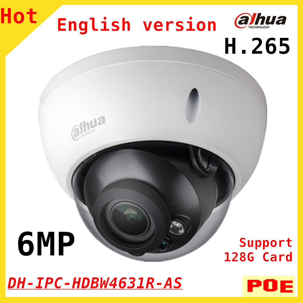 English 6MP Dahua H.265 IP Camera 6mp DH-IPC-HDBW4631R-AS IR 30M Built-in MIC Support POE and 128G SD card IPC-HDBW4631R-AS newest dahua 3mp wifi ip camera dh ipc c35p hd 1080p security camera support sd card up to 128gb built in mic english version