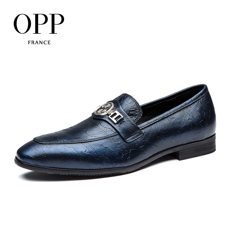 OPP Men's Natural Cow Leather Dress Shoes Fashion Style,Breathable Dress Shoes With Buckle Blue/Wine Oxfords zapatillas hombre opp 2017 men s patent leather dress shoes new fashion style classic low dress shoes natural leather shoes for mens derby shoes