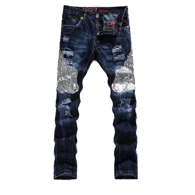 New Fashion 2017 High Quality Eagle Splicing Blue Biker Men Jeans Designer Pants Slim Fit Straight Ripped Mens Jeans 29-38