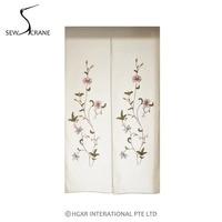 SewCrane Honeycomb Fabric Curtain Embroidery Design With Plant Flowers Home Restaurant Door Curtain Noren Doorway Room