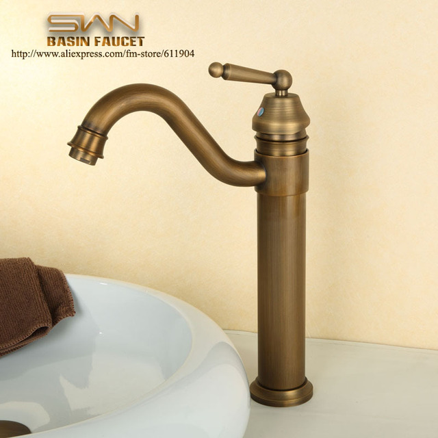 Antique Brass Bathroom Faucet Lavatory Vessel Sink Basin Faucets - Brushed brass bathroom faucets