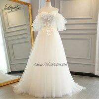 Incrível Tulle Strapless Trem Da Varredura Uma Linha de Personalizar o Vestido de Casamento Feitos Apliques Lace Up Vestido De Noiva Liyuke